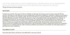 Lectura, biblioteca e inclusión social: importancia de la promoción de la lectura  en comunidades ribereñas en Amazonas,  Brasil
