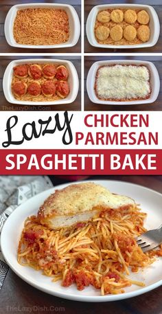 Lazy Chicken Parmesan Baked Spaghetti Casserole (a quick and easy dinner idea for the family!) This budget friendly meal is so simple to throw together, its prefect for busy week nights. An easy casserole dish made with just 5 ingredients. Baked Chicken Spaghetti, Baked Spaghetti Casserole, Crockpot Baked Spaghetti, Chicken Parmesan Pasta Bake, Meatball Casserole, Chicken Casserole, Easy Casserole Dishes, Casserole Recipes, Quick Casseroles