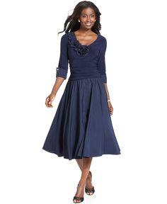 Jessica Howard Dress, Three Quarter Sleeve Portrait Collar A-Line - Womens Dresses - Macy's