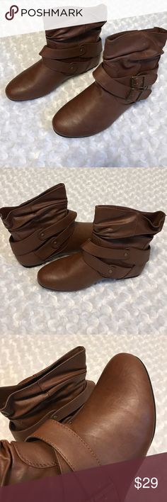 BROWN SLIP ON BOOTIES Beautiful neutral color that will carry you into the warmer months with your feminine and girly dresses. No fuss boots. All Man made materials. -No trades. 51twenty Shoes Ankle Boots & Booties