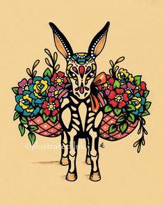 Day of the Dead BURRO Donkey Dia de los Muertos by illustratedink, $15.00