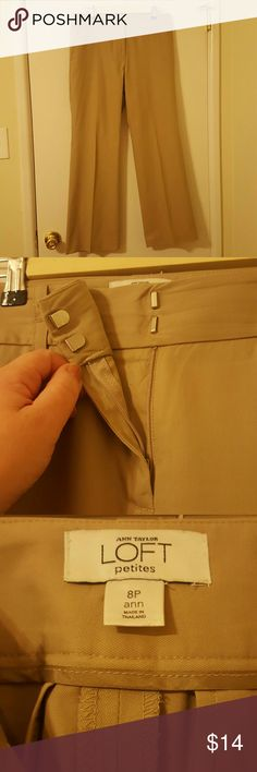 """Loft khaki-colored cotton slacks These 8 petite slacks are Loft's """"Ann fit."""" They fit me wonderfully- I have heavy thighs and a large, round butt at any size! They are 100% cotton and do require ironing, but they look great and Loft clothes have always lasted well for me. (Edited for photos with better lighting.) LOFT Pants Straight Leg"""