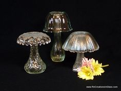 Garden art.  Mushroom trio.  Glass garden totem made with upcycled repurposed glass.