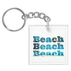 #Square Beach Keychain with Custom Back - #travel #trip #journey #tour #voyage #vacationtrip #vaction #traveling #travelling #gifts #giftideas #idea