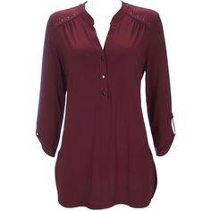 Plain Berry Studded ITY Shirt (265 VEF) ❤ liked on Polyvore featuring tops, wine, studded shirt, 3/4 length sleeve shirts, purple top, polyester shirt and 3/4 sleeve tops