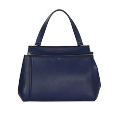 Celine Blue Leather Medium Edge Tote Bag SHW rt. $2,600 | From a collection of rare vintage tote bags at https://www.1stdibs.com/fashion/handbags-purses-bags/tote-bags/