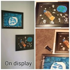 Placing value on children's art work- Two slightly scratched frames I touched up with paint and took the glass out of prior to inserting this amazing artwork by Master 5.