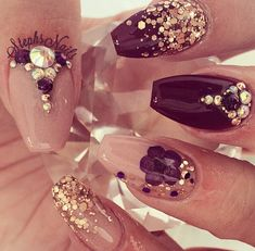 Purple and gold nails coffin nails