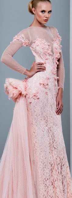 She's Pretty in Pink ~ Chiffon & Lace Evening Gown ~ by Marwan & Khaled Couture 2015 . Pink Fashion, Couture Fashion, Fashion Dresses, Couture 2015, Prom Dresses, Wedding Dresses, Dresses 2016, Estilo Fashion, Everything Pink