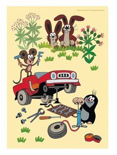 The mole and his car- Der Maulwurf und sein Auto The mole and his car - Auto Poster, The Mole, Second Wedding Anniversary, Kids Prints, Poster Wall, Pin Collection, Childhood Memories, Cool Art, Anime Art