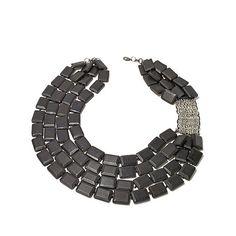 "Rara Avis by Iris Apfel Black Wood Silvertone 27"" 4-Row Necklace | HSN"