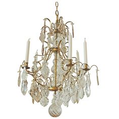 19th Century Six Light Cut Crystal and Glass Chandelier | From a unique collection of antique and modern chandeliers and pendants  at https://www.1stdibs.com/furniture/lighting/chandeliers-pendant-lights/