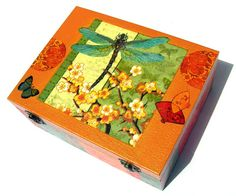 Butterfly dragonfly decoupage wood box colorful gift