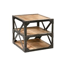 Wood and Metal End Table at HudsonGoods.com