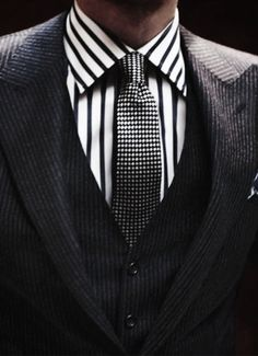 Wide Bengale Stripe with a Micro Pattern will always work.  The key is to wear different pattern types with opposite size/scale. (side-note:  the fine striped suit works because its a faint stripe and is smaller in scale compared to the dress shirt.)  Wonderful look.