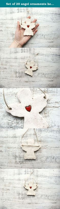 Set of 20 angel ornaments heart ornament Scandi Christmas ornament Scandinavian Christmas decoration rustic cottage chic shabby chic red white 4 inches. Lovely primitive angel ornament with a little red heart. Both sides are decorated in the same way (handpainted). This can be a great touch of rustic & Scandinavian style. It can be a sweet Christmas ornament or Christmas decoration, holiday decor in shabby chic or cottage chic style. The size of each angel is about 9 cm long and wide or...