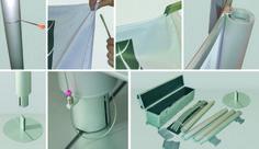 MAX UP (dettagli) - Struttura in alluminio anodizzato con un unico telo. In versione monofacciale o bi-facciale assicura grande visibilità e ingombro minimo. Le colonne, le base e il kit di sostegno della grafica sono componibili per permettere l'agevole stivaggio e trasporto. E' possibile affiancare più strutture per creare un muro di immagini, una parete divisoria o uno stand. Dimensioni struttura: L. 300 x H. 225 x 30 cm prof. – Peso 32 kg H. 250 su richiesta