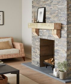 48 Comfy Wooden Tiles Design Ideas For Living Room Tiled Fireplace Wall, Fireplace Feature Wall, Feature Wall Living Room, Slate Fireplace, Home Fireplace, Fireplaces, Fireplace Ideas, Fireplace Design, Home Living Room