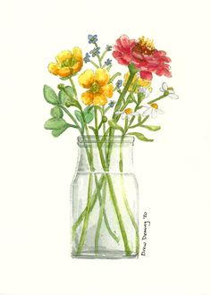 Buttercup Bouquet watercolor print by artist Drew Deming. Sunny, whimsical, and refreshing all all words that describe a fresh picked bouquet. Watercolor Print, Watercolor Flowers, Watercolor Paintings, Hue Color, Summer Kitchen, Buttercup, Botanical Art, Brush Strokes, Watercolors