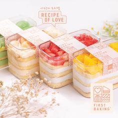 Cake Boxes Packaging, Baking Packaging, Dessert Packaging, Food Packaging Design, Korean Cake, Deco Restaurant, Dessert Boxes, Desserts To Make, Cafe Food