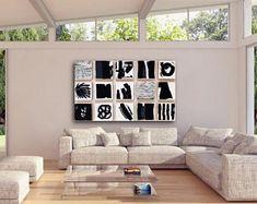 Die Manhattan - Original lackiert Holz-Block Wand Kunst - abstrakte Malerei-Holz-Wand-Skulptur - kommerzielle Kunst Installation - Schwarz & weiß