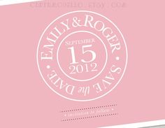 Printable Save the Date Card Stamp Design inspired by Tiffany and Co. : Light Pink and White. $9.00, via Etsy.