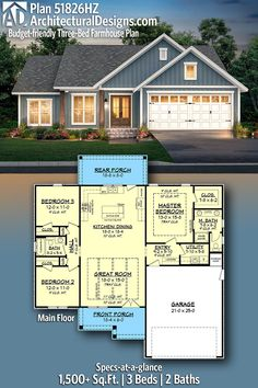 Architectural Designs Farmhouse Home Plan gives you 3 beds, 2 baths and over square feet of heated living space. Family House Plans, Ranch House Plans, New House Plans, Dream House Plans, Small House Plans, House Floor Plans, 3 Bedroom Home Floor Plans, Ranch Home Floor Plans, Bungalow Floor Plans