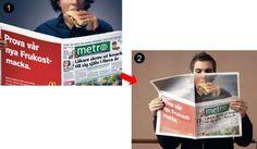 読者自身が広告の一部になる新聞広告 新聞を開いて読んでいる読者自身が、あたかもサンドウィッチを食べているように見えるというクリエイティブ。