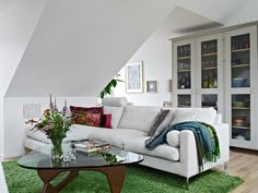 Modern and Luxury Swedish Loft Design Ideas with Protected Terrace-green carpet
