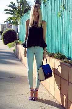 Love the black peplum top from last season paired with a fresh pair of pastel skinny jeans for spring