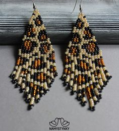 Leopard beaded earrings Animal print earrings Leopard print Seed bead earrings Long earrings Native earrings Chandelier earrings Beadwork – The World Seed Bead Jewelry, Seed Bead Earrings, Fringe Earrings, Beaded Jewelry, Hoop Earrings, Beaded Earrings Patterns, Beading Patterns, Handmade Silver, Handmade Jewelry
