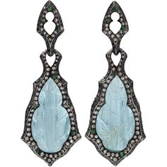 Arunashi Carved Aquamarine Earrings (69.840 BRL) ❤ liked on Polyvore featuring jewelry, earrings, aquamarine jewellery, arunashi jewelry, post earrings, aquamarine jewelry and carved earrings