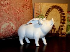 French Country Pig with Wings Fairy Pig Shabby Cottage Upscale Decor | eBay $25.20 shipped! squee!