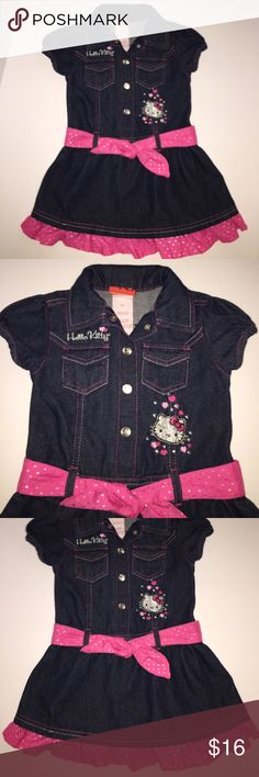 Adorable Dark Denim Hello Kitty Dress Pink Ruffles Adorable Dark Denim Hello Kitty Dress Pink Heart Ruffles & Belt. Cute Design. Great Condition size 4T Hello Kitty Dresses