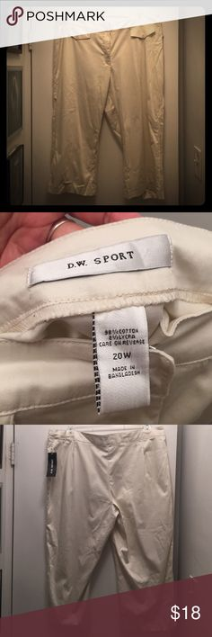 D.W. Sport Capri Pants NWT. Lightweight, off-white, smooth material. Although they have tags, they've been stored for a little while and may need washing due to light color. D.W. Sport Pants Ankle & Cropped