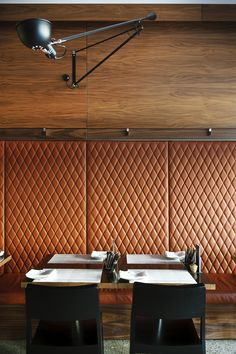 La Lola / Mata Design Studio - love the wall! Could do this with quilted leather.