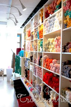 Trollgarnet, yarn shop in sweden. I'd love to have a room filled with yarn.