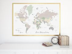 Peaceful waters mapamundi personalizado para marcar viajes custom quote printable world map with country names and us states names newlyweds gift custom map premade color map map140 061 gumiabroncs Gallery