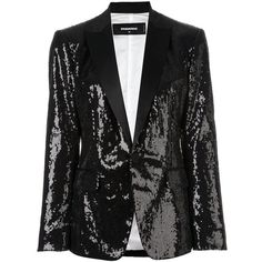 Dsquared2 'London Peak' sequined blazer (9.510 RON) ❤ liked on Polyvore featuring outerwear, jackets, blazers, black, sequin jacket, dsquared2, dsquared2 jacket, long sleeve blazer and long sleeve jacket
