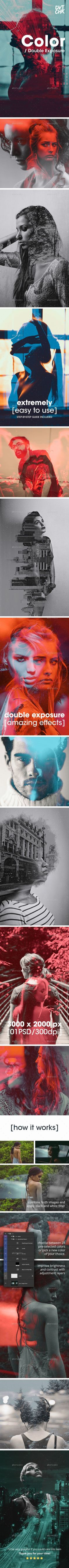 Color - Double Exposure Photoshop Photo Template. Photoshop tips. Nordic360.