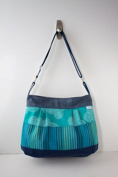 Large Pleated Cross Body bag in Turquoise and Navy by bluecalla, $72.00