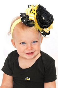 NEW boutique over the top BUMBLE BEE hair bow on a by andjane, $16.99