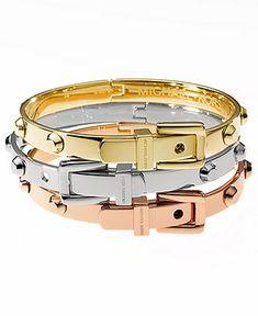 Michael Kors Bracelets, Tri-Tone Belt Buckle Bangles - Fashion Jewelry - Jewelry & Watches - Macy's