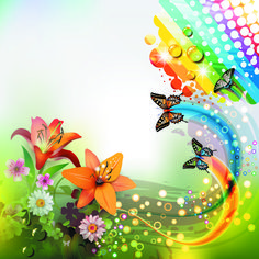 http://freedesignfile.com/upload/2012/08/Colorful-flower-and-Butterfly-background-vector-03-.jpg