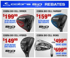 Love to save? So do we! Get huge discounts on Cobra BiO Cell clubs with our Cobra Instant Rebates. http://www.progolfseattle.com/current-sale