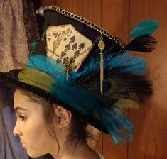 Steampunk - Mad hatter top hat Victorian style top hat by Girlsjustwannahavfun Mad Hatter Top Hat, Mad Hatter Party, Mad Hatter Tea, Mad Hatters, Crazy Hat Day, Crazy Hats, Fascinator, Mad Hatter Costumes, Mad Hatter Cosplay