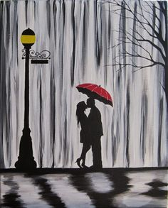 Original Couple in rain painting Couple kissing in by ArtbyRangrez, $59.00