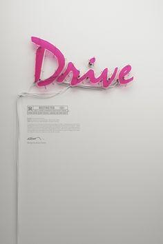 Drive Neon Poster by Rizon Parein in Summer Neon