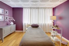 Purple! Interesting & out of the box colors. Bella Fiore Spa treatment room