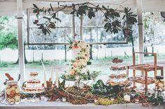 wedding cake tables - photo by Papered Heart Photography http://ruffledblog.com/brooksville-florida-wedding